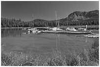Marina, Paulina Lake. Newberry Volcanic National Monument, Oregon, USA ( black and white)