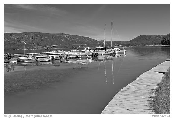 Deck and marina, Paulina Lake. Newberry Volcanic National Monument, Oregon, USA (black and white)