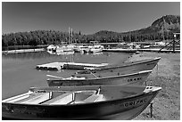 Boats and marina, Paulina Lake. Newberry Volcanic National Monument, Oregon, USA ( black and white)