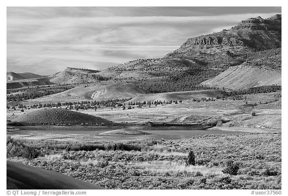 Sagebrush and hills. John Day Fossils Bed National Monument, Oregon, USA (black and white)