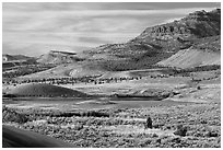 Sagebrush and hills. John Day Fossils Bed National Monument, Oregon, USA ( black and white)