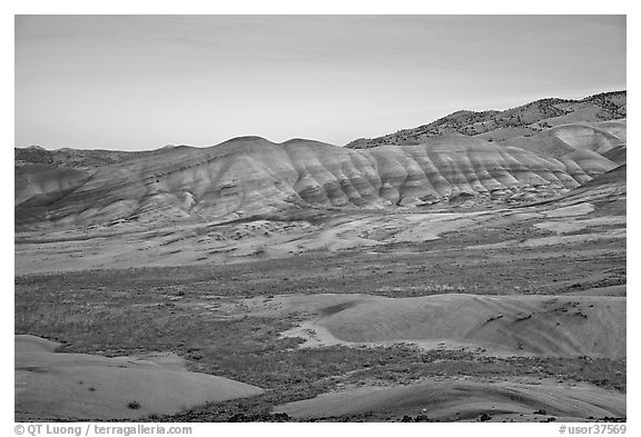 Painted hills at dusk. John Day Fossils Bed National Monument, Oregon, USA (black and white)