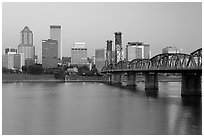 Skyline and Hawthorne Bridge, dawn. Portland, Oregon, USA (black and white)