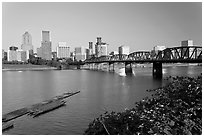 Hawthorne Bridge and Portland Skyline. Portland, Oregon, USA (black and white)