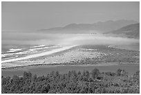 River estuary and fog near Cap Meares. Oregon, USA (black and white)