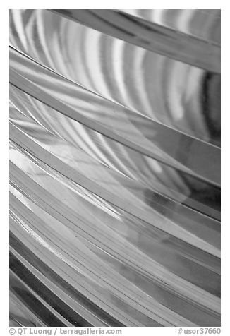 Pattern in lighthouse Fresnel lens, Cap Meares. Oregon, USA (black and white)