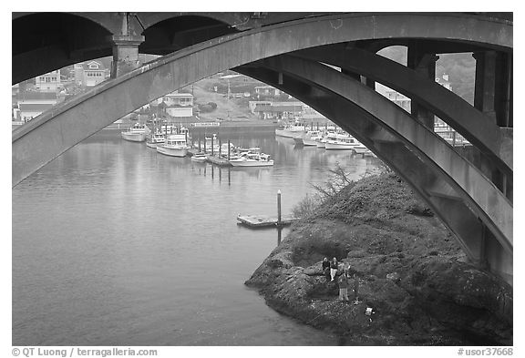 Depoe Bay Harbor from under highway bridge. Oregon, USA (black and white)