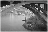 Depoe Bay Harbor from under highway bridge. Oregon, USA ( black and white)