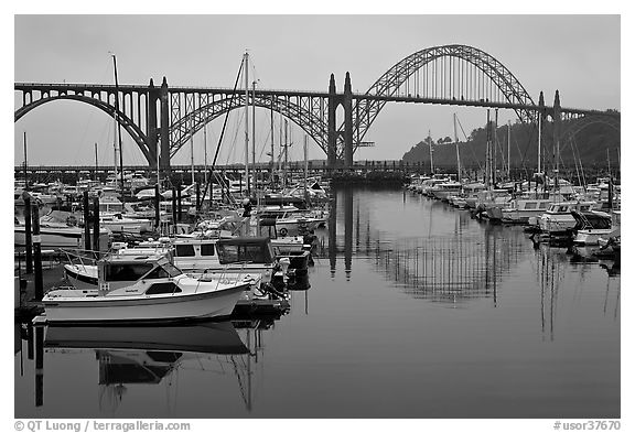 Harbor and Yaquina Bay Bridge, dawn. Newport, Oregon, USA (black and white)