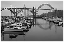 Harbor and Yaquina Bay Bridge, dawn. Newport, Oregon, USA ( black and white)