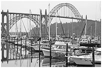 Marina and Yaquina Bay Bridge. Newport, Oregon, USA ( black and white)