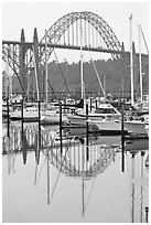 Yacht harbor and Newport Bay Bridge. Newport, Oregon, USA ( black and white)
