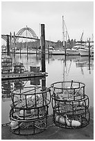 Crab traps and harbor. Newport, Oregon, USA (black and white)