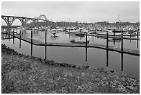 Newport harbor. Newport, Oregon, USA ( black and white)