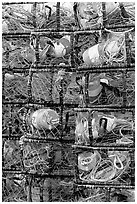 Close-up of traps used for crabbing. Newport, Oregon, USA ( black and white)