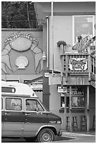 Colorful seafood restaurant. Newport, Oregon, USA ( black and white)