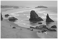 Beach and rock needles. Bandon, Oregon, USA (black and white)