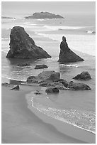 Rock needles. Bandon, Oregon, USA ( black and white)