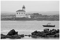 Coquille River lighthouse. Bandon, Oregon, USA ( black and white)