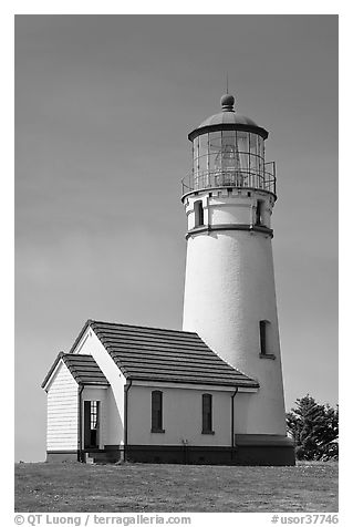 Cape Blanco Lighthouse tower. Oregon, USA (black and white)