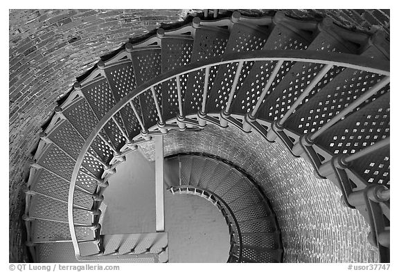 Spiral staircase inside Cape Blanco Lighthouse. Oregon, USA (black and white)