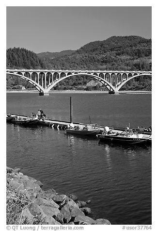 Boat deck and arched bridge, Rogue River. Oregon, USA