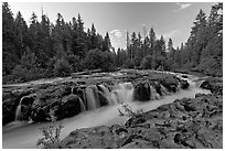 Rogue river cascading over balsalt rock. Oregon, USA (black and white)