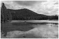 Kayakers, Devils Lake, Deschutes National Forest. Oregon, USA (black and white)