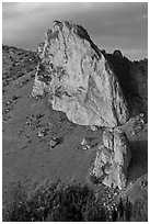 Ryolite outcrop at sunset. Smith Rock State Park, Oregon, USA (black and white)