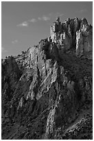 Ryolite pinnacles at sunset. Smith Rock State Park, Oregon, USA (black and white)