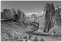 Crooked River and cliffs. Smith Rock State Park, Oregon, USA (black and white)