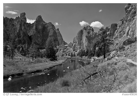Crooked River valley and rock walls. Smith Rock State Park, Oregon, USA (black and white)