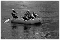 Rafting, McKenzie river. Oregon, USA (black and white)