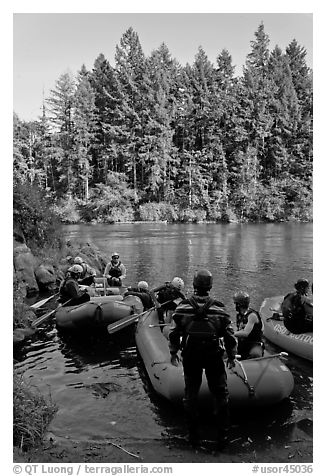 Rafts landing, Ben and Kay Doris Park. Oregon, USA (black and white)