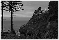 Heceta Head and light beam, twilight. Oregon, USA (black and white)
