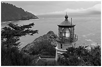 Heceta Head light and fresnel lens. Oregon, USA (black and white)
