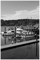 Siuslaw River and harbor, Florence. Oregon, USA ( black and white)