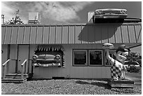 Dinner and built-in hot rod vintage cars, Florence. Oregon, USA ( black and white)