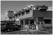 Dinner decorated with vintage cars, Florence. Oregon, USA (black and white)