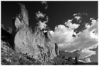 Roostercomb Rock and cloud Leslie Gulch. Oregon, USA ( black and white)