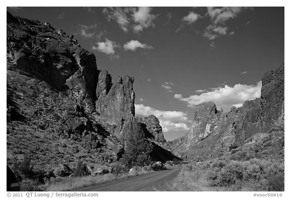 Scenic road below spires, Leslie Gulch. Oregon, USA (black and white)