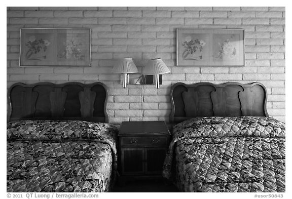 Beds in motel room, Cave Junction. Oregon, USA (black and white)