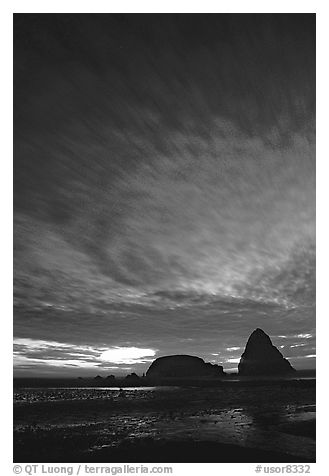 Seastack at sunset. Oregon, USA (black and white)
