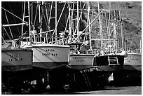 Boats on the deck in Port Orford. Oregon, USA (black and white)