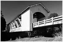 White covered bridge, Willamette Valley. Oregon, USA (black and white)