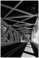 Inside a covered bridge, Willamette Valley. Oregon, USA (black and white)