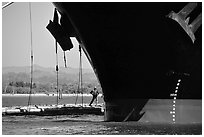 Cargo ship loading floated timber, Coos Bay. Oregon, USA (black and white)