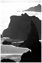 Seastacks, reflections, and beach, late afternoon. Bandon, Oregon, USA (black and white)