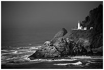 Lighthouse at Haceta Head, afternoon. Oregon, USA (black and white)
