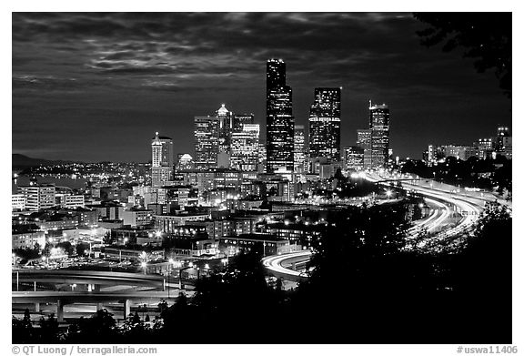 Seattle skyline at night. Seattle, Washington (black and white)